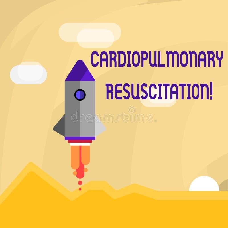 Escrita conceptual da mão que mostra a ressuscitação cardiopulmonar Foto do negócio que apresenta a compressão repetida dos ciclo ilustração royalty free