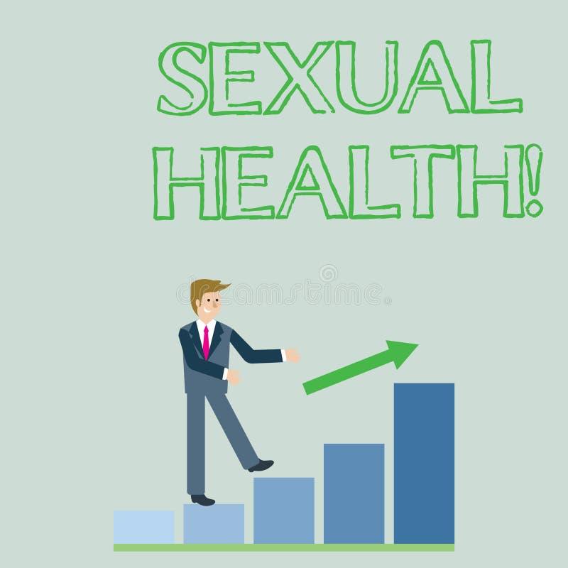 Escrita conceptual da mão que mostra a saúde sexual Foto do negócio que apresenta hábitos saudáveis da proteção do uso da prevenç ilustração stock