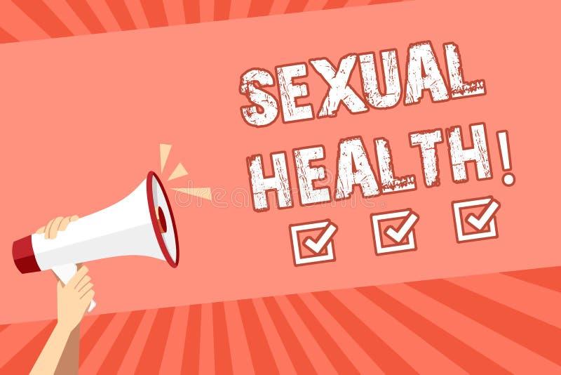 Escrita conceptual da mão que mostra a saúde sexual Foto do negócio que apresenta hábitos saudáveis da proteção do uso da prevenç ilustração do vetor