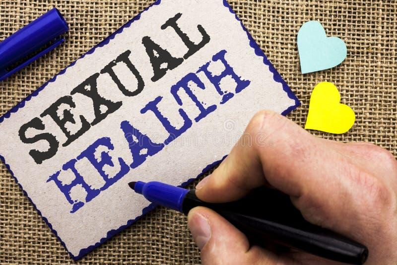 Escrita conceptual da mão que mostra a saúde sexual Foto do negócio que apresenta o wri saudável do cuidado do sexo dos hábitos d imagem de stock