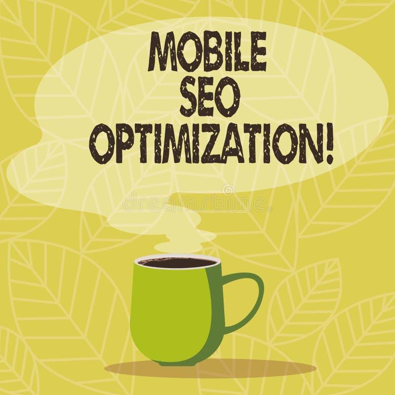 Escrita conceptual da mão que mostra Seo Optimization móvel Apresentar da foto do negócio permite um Web site de classificar para ilustração do vetor