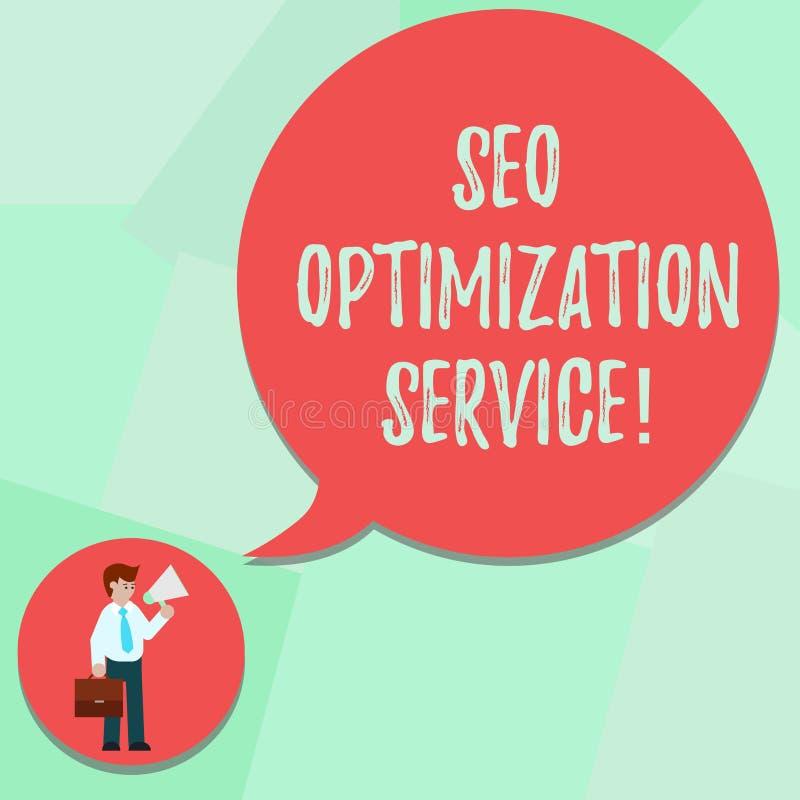 Escrita conceptual da mão que mostra Seo Optimization Service Alvo do texto da foto do negócio para aumentar a visibilidade da ilustração royalty free
