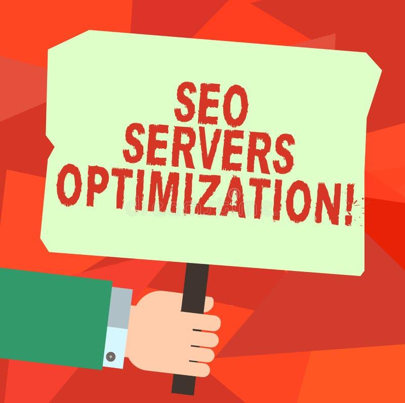 Escrita conceptual da mão que mostra Seo Servers Optimization Eficiência do funcionamento da rede do texto SEO da foto do negócio ilustração stock