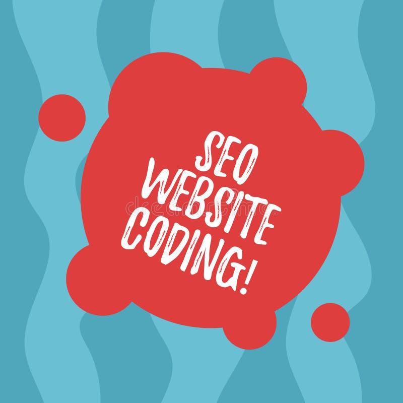 Escrita conceptual da mão que mostra Seo Website Coding Texto da foto do negócio para criar o local na maneira para fazê-la mais  ilustração do vetor