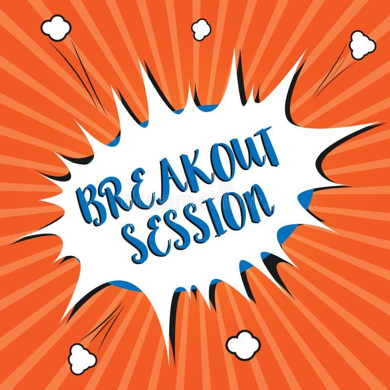 Escrita conceptual da mão que mostra a sessão da fuga Discussão ou apresentação apresentando da oficina da foto do negócio no ass ilustração stock