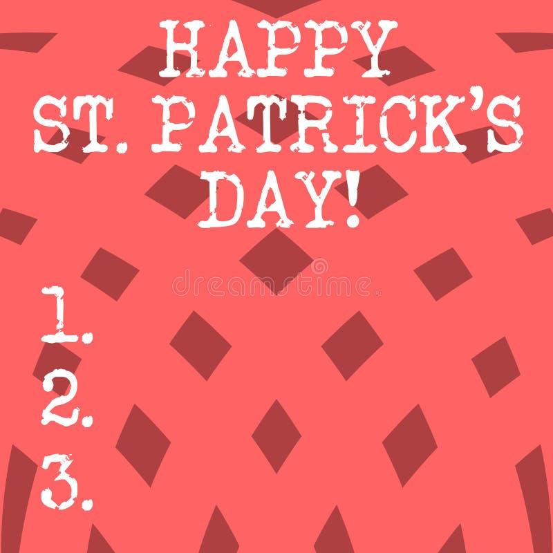 A escrita conceptual da mão que mostra St Patrick feliz S é dia Encantos afortunados apresentando do verde da celebração da Irlan ilustração royalty free