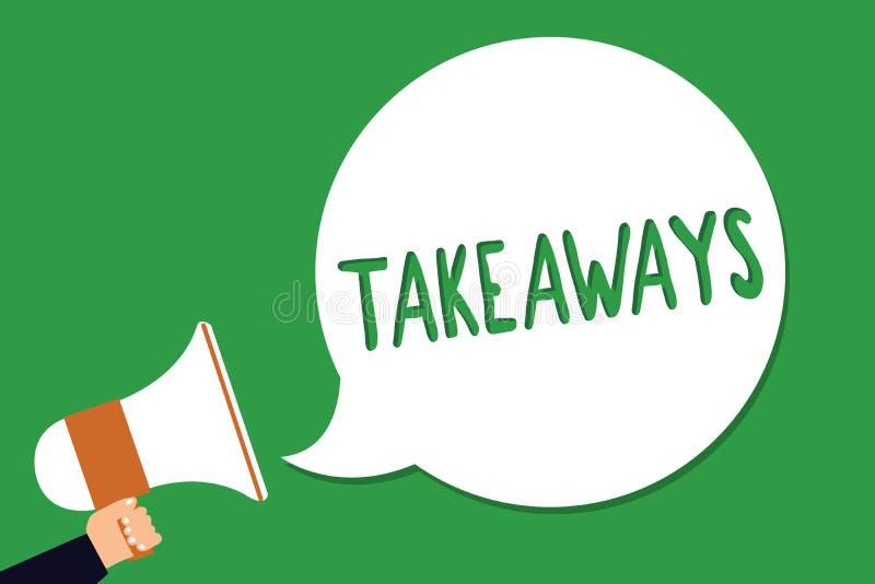 Escrita conceptual da mão que mostra Takeaways Foto do negócio que apresenta um ato ou um exemplo de dar a algo de você a alguém  ilustração stock