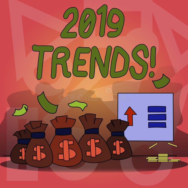 Escrita conceptual da mão que mostra 2019 tendências Desenvolvimentos do ano novo do texto da foto do negócio nas inovações das m ilustração do vetor