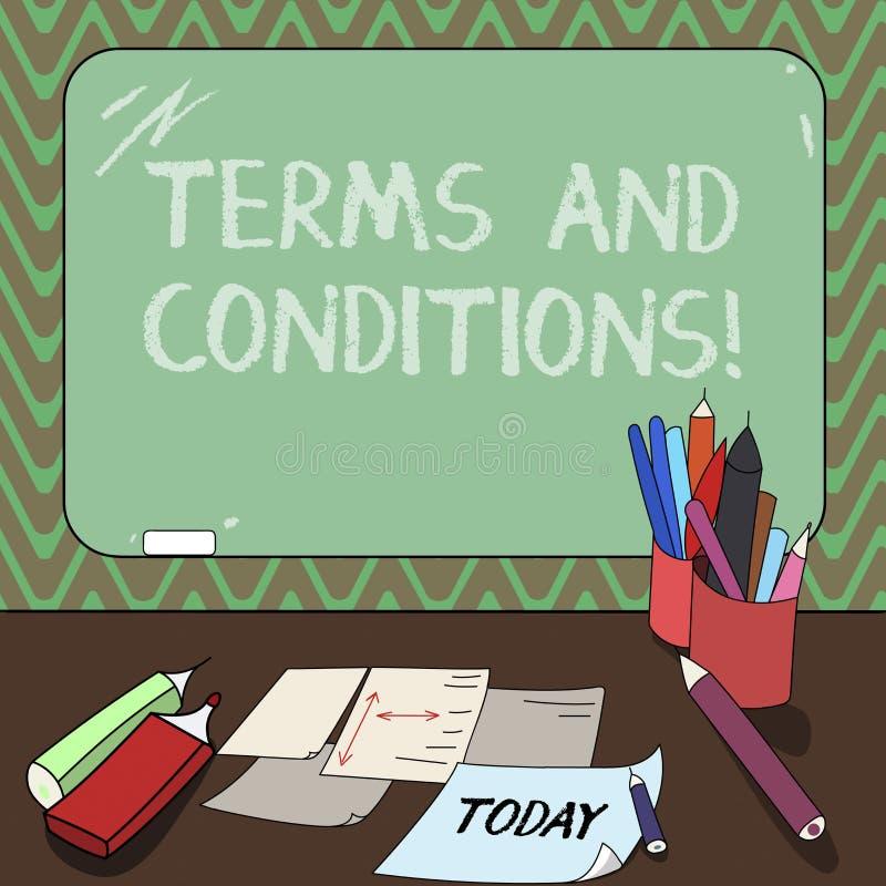 Escrita conceptual da mão que mostra termos e condições Detalhe apresentando da foto do negócio as regras que se aplicam para car ilustração do vetor
