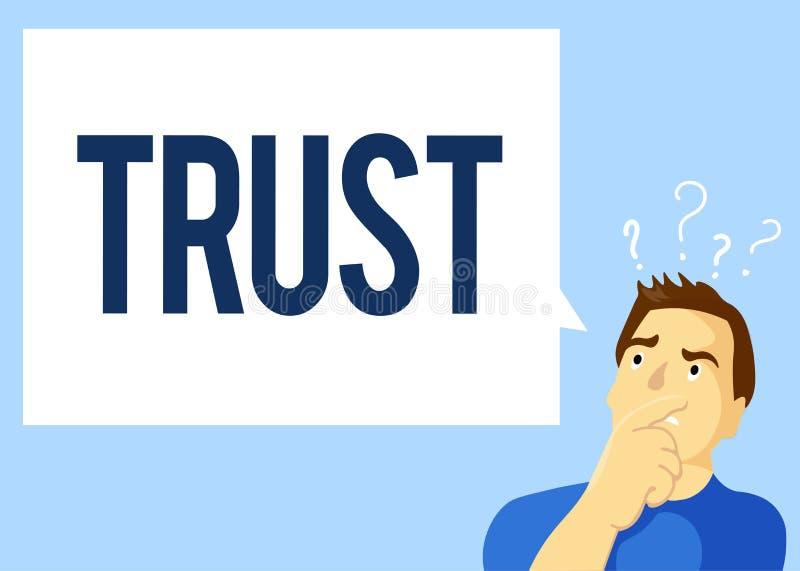 Escrita conceptual da mão que mostra a texto da foto do negócio de confiança a opinião firme na verdade ou na capacidade da confi ilustração stock