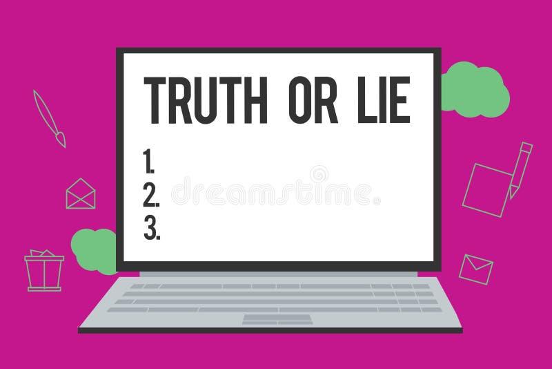 Escrita conceptual da mão que mostra a verdade ou a mentira Decisão do texto da foto do negócio entre ser dúvida bem escolhida de ilustração do vetor