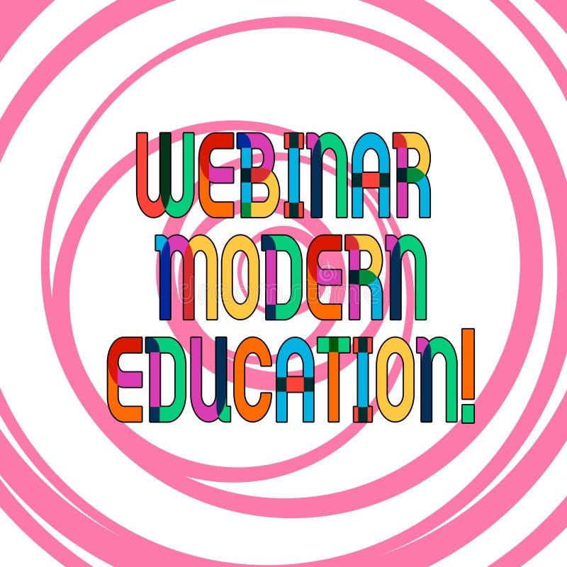 Escrita conceptual da mão que mostra a Webinar a educação moderna Processo da foto do negócio e prática apresentando de tornar-se ilustração royalty free