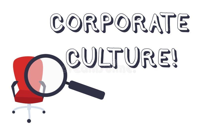 Escrita conceptual da m?o que mostra a cultura empresarial Opiniões e atitudes do texto da foto do negócio que caracterizam uma e ilustração royalty free