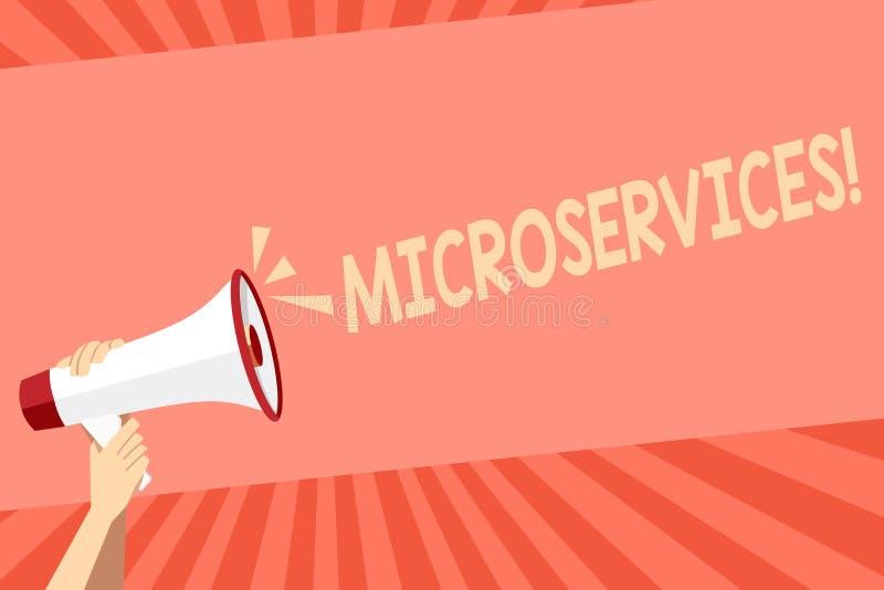 Escrita conceptual da m?o que mostra Microservices Decomposi??o apresentando da t?cnica da programa??o de software da foto do neg ilustração do vetor