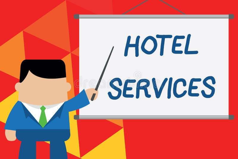 Escrita conceptual da m?o que mostra servi?os de hotel Cortesias das facilidades do texto da foto do negócio de uma acomodação e  ilustração do vetor