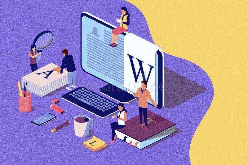 Escrita criativa ou publicar em blogs do conceito isométrico, educação e gestão satisfeita para o página da web, ilustração do vetor