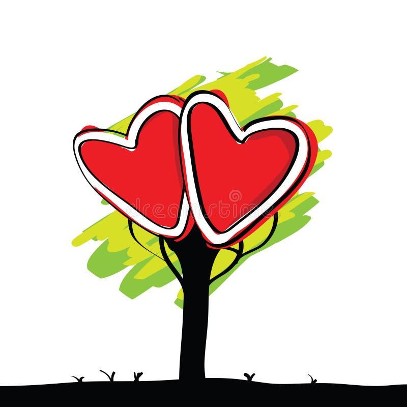 Escrita da árvore pintada miúdo do coração ilustração royalty free