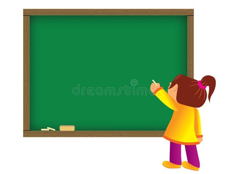 Escrita da criança no quadro ilustração do vetor