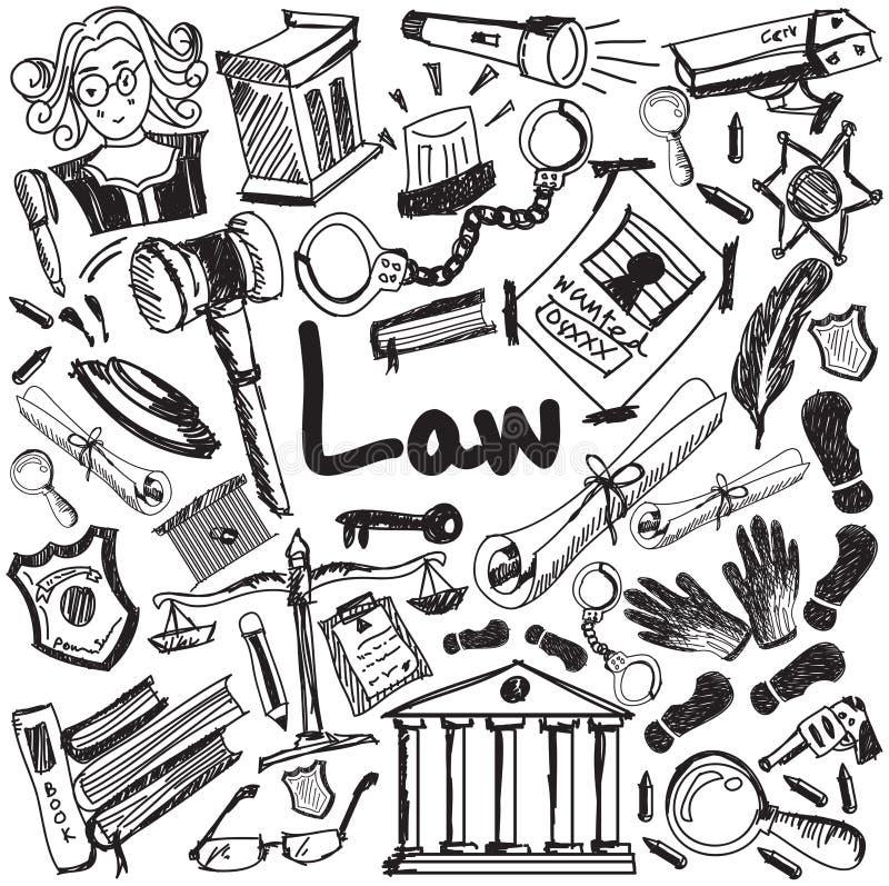 A escrita da educação da lei e do julgamento rabisca o ícone de justiça s ilustração do vetor