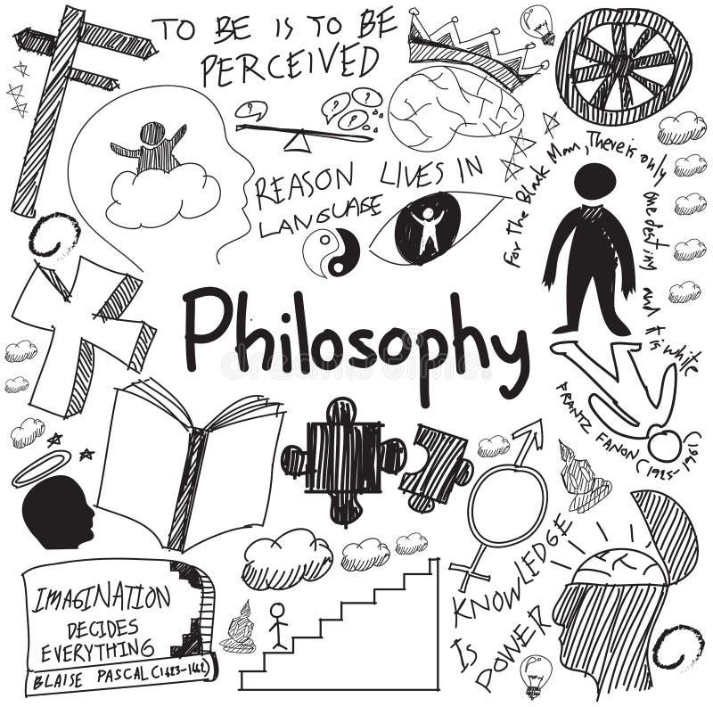 A escrita da filosofia do mundo e da doutrina da religião rabisca o esboço ilustração royalty free