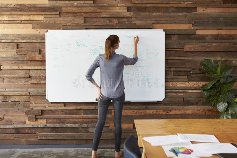 Escrita da jovem mulher em um whiteboard em um escritório, vista traseira fotos de stock