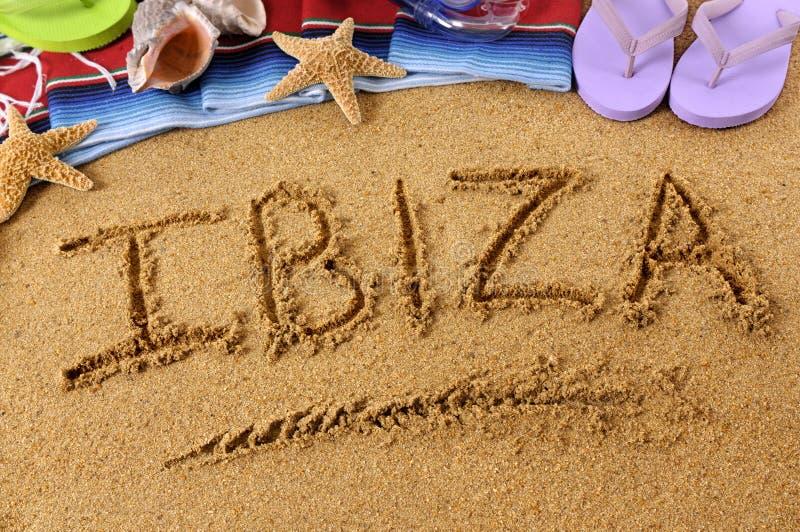 Escrita da praia de Ibiza fotografia de stock