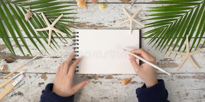 Escrita de mulheres no caderno na praia de verão no local de trabalho fotografia de stock