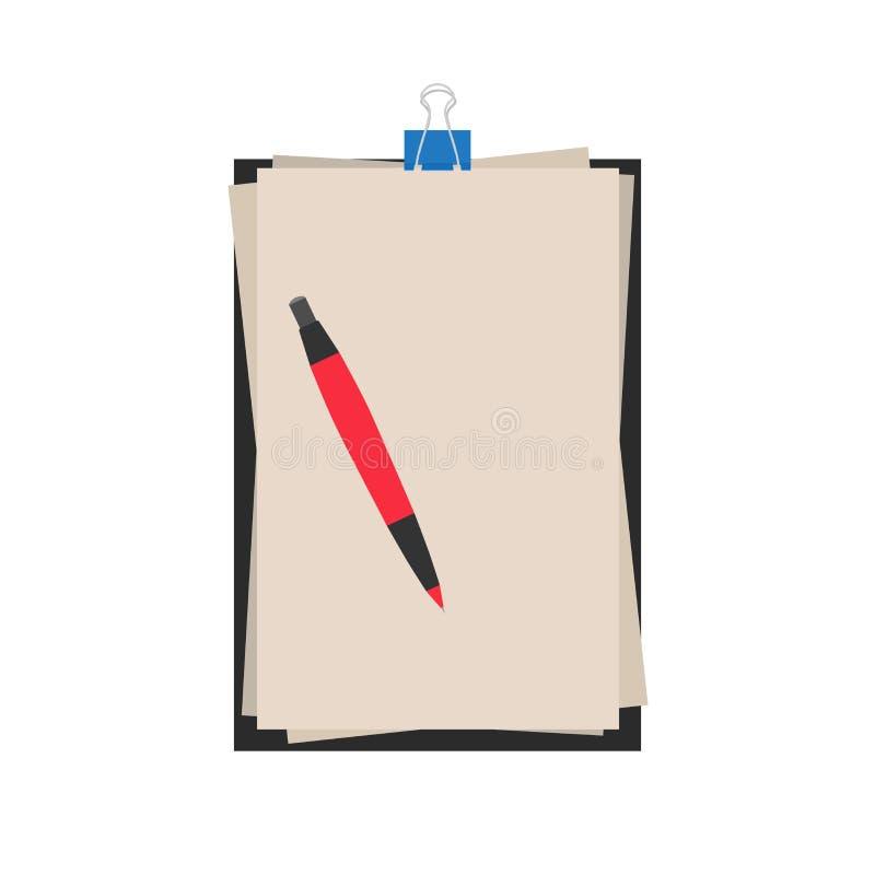 Escrita do ícone do papel do vetor da pena do caderno Fundo isolado ilustração royalty free