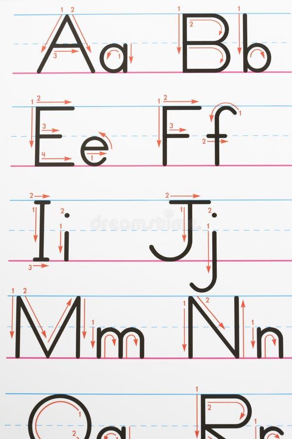 Escrita do alfabeto. imagem de stock