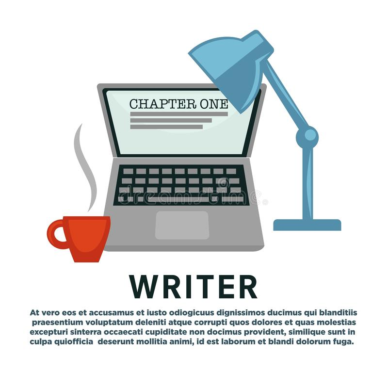 Escrita do capítulo do copo de café do portátil e da lâmpada da profissão do escritor ilustração stock