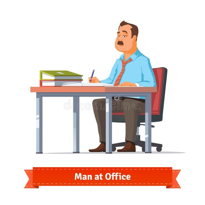 Escrita do homem na tabela do escritório ilustração royalty free
