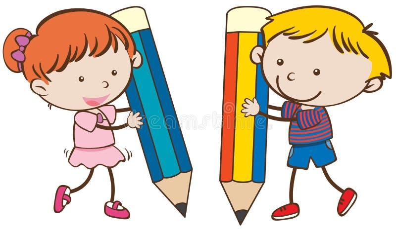 Escrita do menino e da menina com lápis grandes ilustração stock
