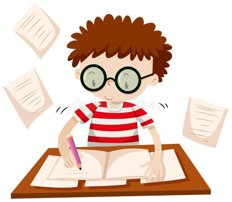 Escrita do menino na tabela ilustração royalty free