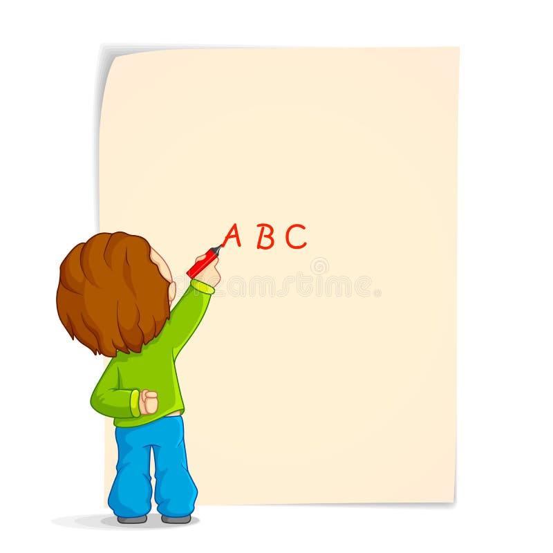 Escrita do miúdo no papel ilustração royalty free