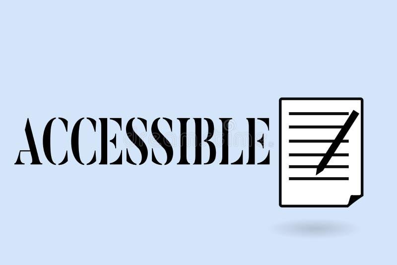 Escrita do texto da escrita acessível Significado do conceito capaz de ser alcançado ou acesso fácil descontraído amigável incorp ilustração do vetor