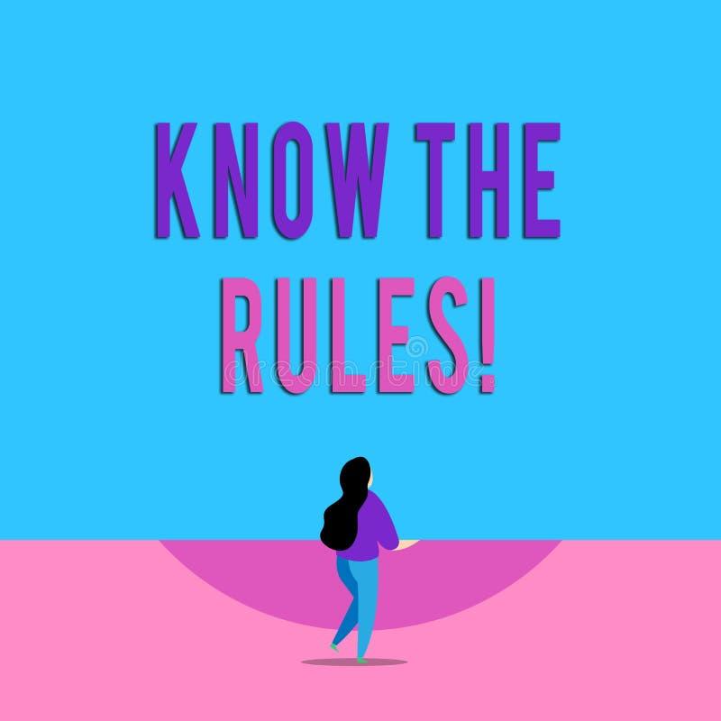 A escrita do texto da escrita conhece as regras O significado do conceito ajustou os princípios explícitos ou regulamentares que  ilustração royalty free
