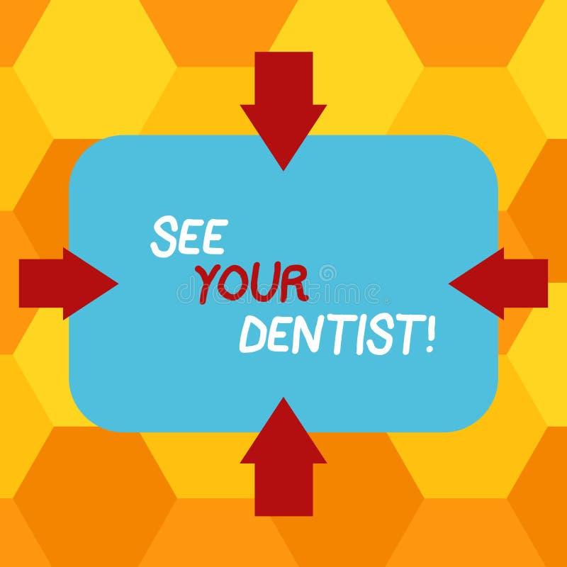 A escrita do texto da escrita considera seu significado de Concept do dentista ir a examinar quem é treinado especialmente para s ilustração do vetor