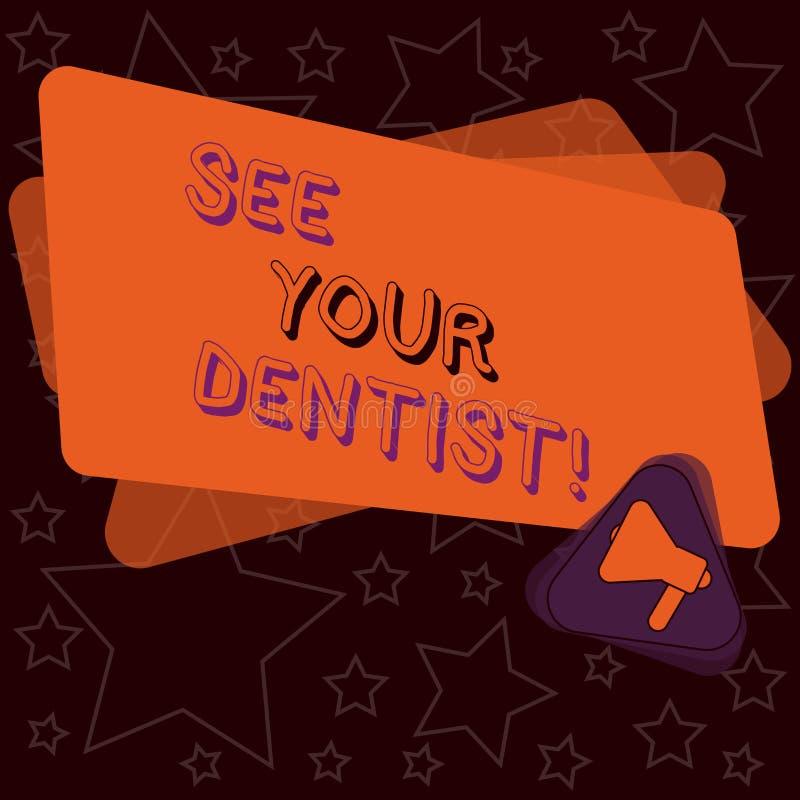 A escrita do texto da escrita considera seu significado de Concept do dentista ir a examinar quem é treinado especialmente para s ilustração stock