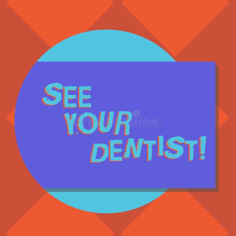 A escrita do texto da escrita considera seu significado de Concept do dentista ir a examinar quem é treinado especialmente para s ilustração royalty free