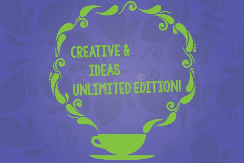 Escrita do texto da escrita criativa e ideias edição ilimitada Copo ilimitado de pensamento brilhante da faculdade criadora do si ilustração stock