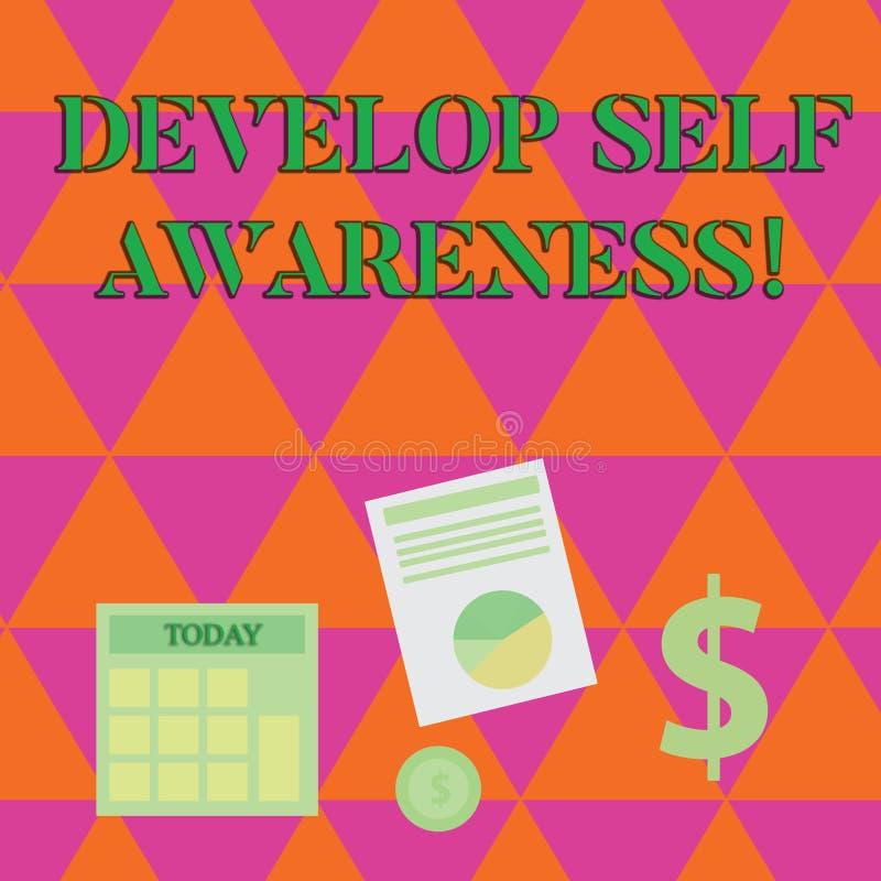 A escrita do texto da escrita desenvolve a conscientização de auto Significado do conceito o que você o pensa para se transformar ilustração stock