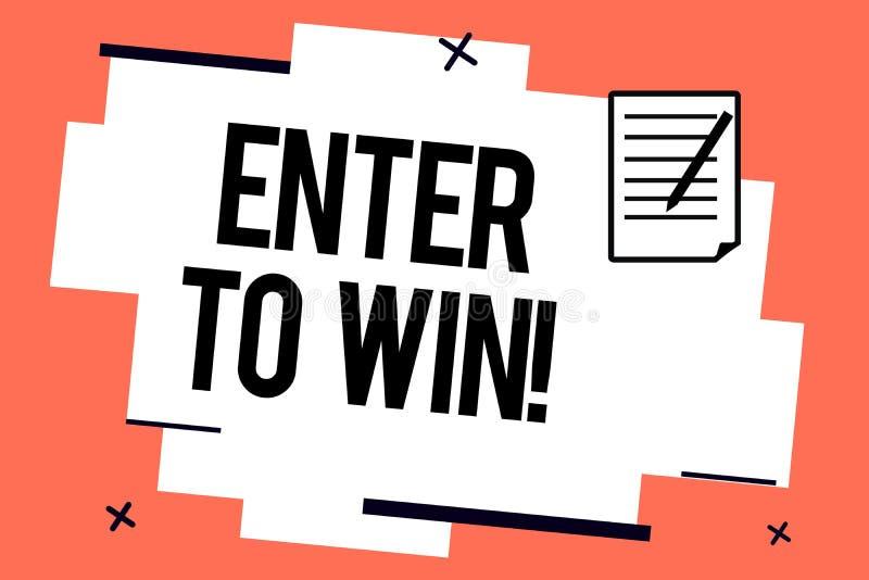 A escrita do texto da escrita entra para ganhar Conceito que significa os sorteios que tentam a sorte ganhar a loteria premiada g ilustração do vetor