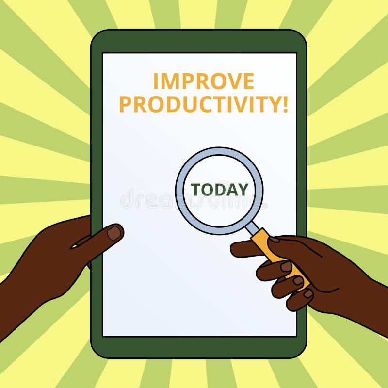 A escrita do texto da escrita melhora a produtividade O significado do conceito aumenta a qualidade do tempo e do Perforanalysisc ilustração stock