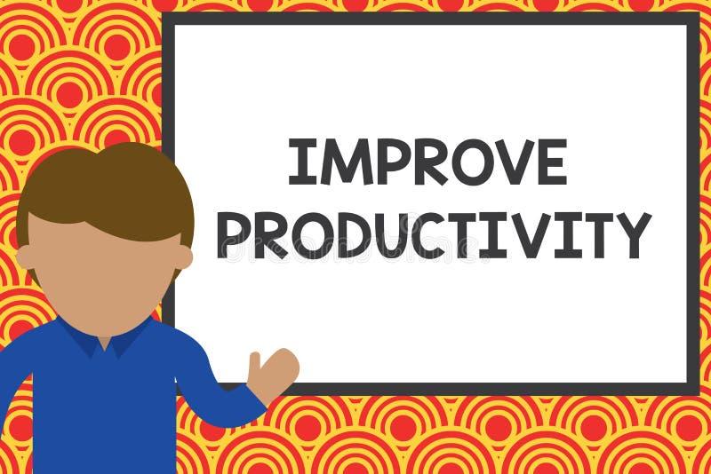 A escrita do texto da escrita melhora a produtividade Significado do conceito para aumentar o homem de jovens da eficiência da má ilustração royalty free
