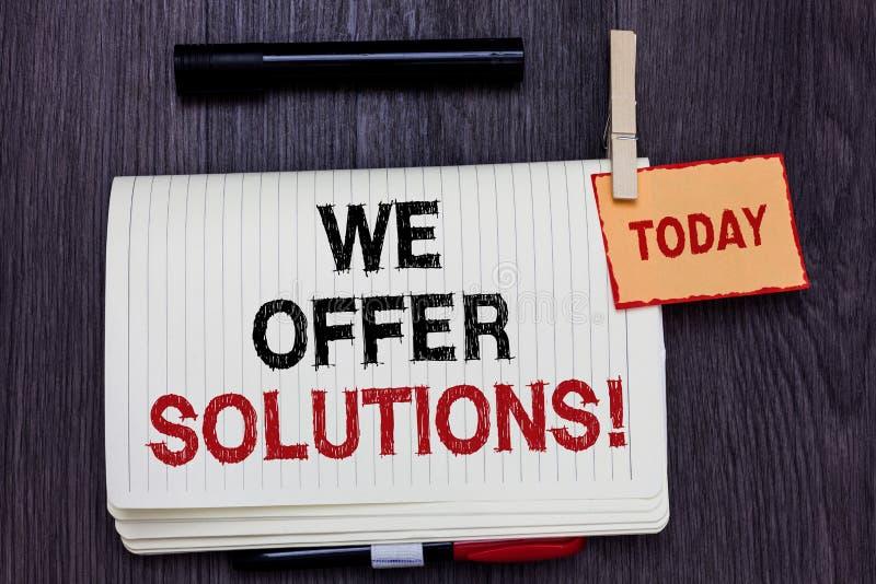 Escrita do texto da escrita nós oferecemos soluções Ideias de oferecimento das estratégias do conselho de peritos do auxílio da a imagens de stock royalty free