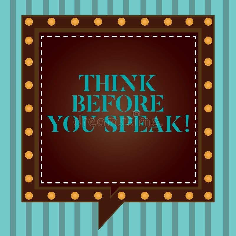 A escrita do texto da escrita pensa antes que você fale O significado do conceito considera o que você está indo dizer antes o fa ilustração do vetor