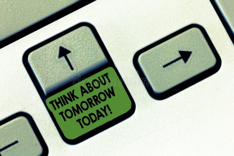 A escrita do texto da escrita pensa aproximadamente amanhã hoje O significado do conceito prepara seu futuro prevê agora o que é  imagem de stock