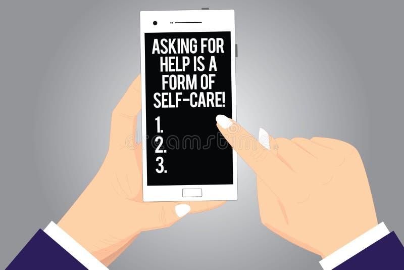 A escrita do texto da escrita que pede a ajuda é um formulário do cuidado do auto O significado do conceito esteja aberto pedir o ilustração do vetor