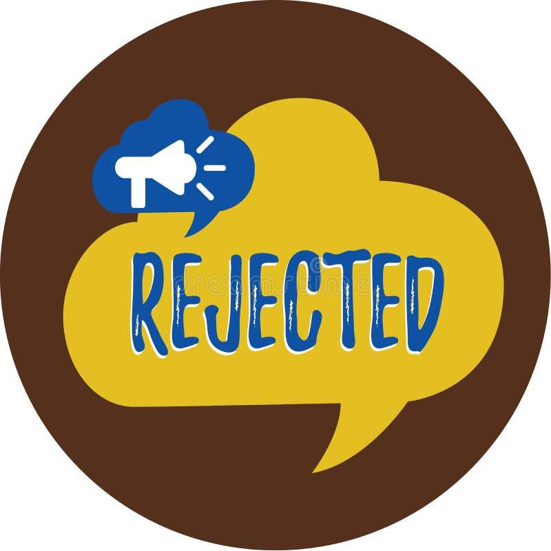 Escrita do texto da escrita rejeitada O significado do conceito demite como a recusa inaceitável ou defeituosa inadequada para co ilustração stock