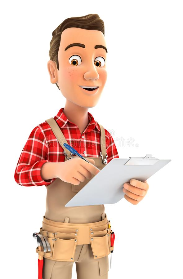 escrita do trabalhador manual 3d no bloco de notas ilustração royalty free